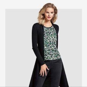 CAbi #3260 Jungle Top Green Leopard Layered Top M